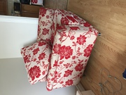 Red Flower and Red Leather Chairs For Sale