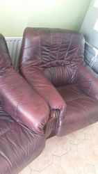 Classic leather & Mahogany framed armchairs