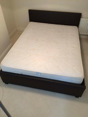 King size brown leather ottoman bed & mattress