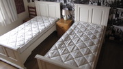 2 single matching beds and mattresses
