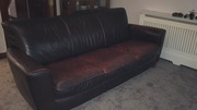 Natuzzi Italian brown leather 3-seater couch and matching recliner