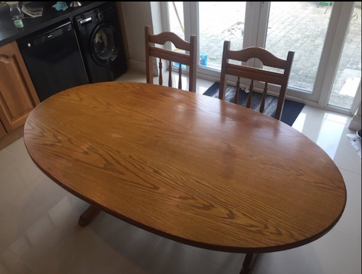 Solid Oak Table + 6 Chairs