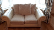 3&2 Seater Cream Leather and Fabric Sofas